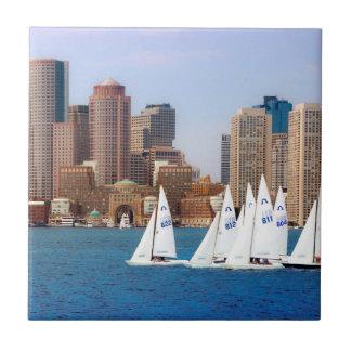 USA, Massachusetts. Boston Waterfront Skyline 4 Tile