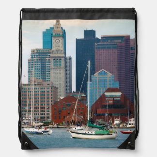 USA, Massachusetts. Boston Waterfront Skyline Drawstring Bag