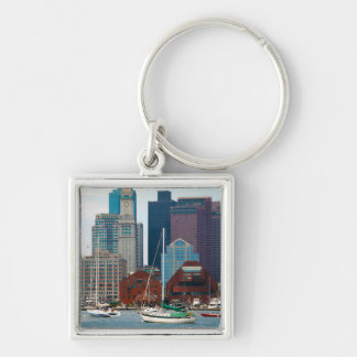 USA, Massachusetts. Boston Waterfront Skyline Key Ring