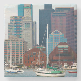 USA, Massachusetts. Boston Waterfront Skyline Stone Coaster