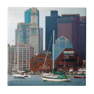 USA, Massachusetts. Boston Waterfront Skyline Tile