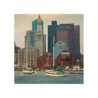 USA, Massachusetts. Boston Waterfront Skyline Wood Canvases
