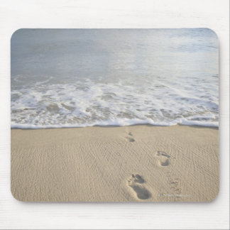 USA, Massachusetts, Cape Cod, footprints on Mouse Pad