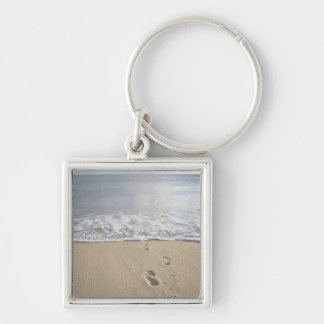 USA, Massachusetts, Cape Cod, footprints on Silver-Colored Square Key Ring