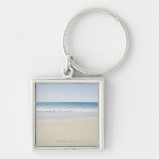USA, Massachusetts, Empty beach 3 Silver-Colored Square Key Ring