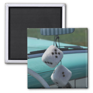 USA, Massachusetts, Gloucester. Fuzzy dice in a Square Magnet