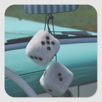 USA, Massachusetts, Gloucester. Fuzzy dice in a Square Sticker