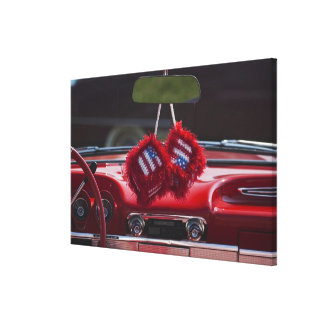 USA, Massachusetts, Gloucester. Fuzzy dice with Stretched Canvas Print