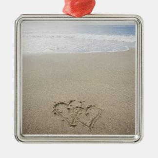 USA, Massachusetts, Hearts drawn on sandy beach 2 Silver-Colored Square Decoration
