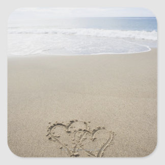 USA, Massachusetts, Hearts drawn on sandy beach 2 Square Sticker