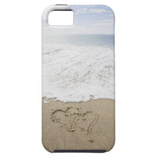 USA, Massachusetts, Hearts drawn on sandy beach 3 iPhone 5 Case