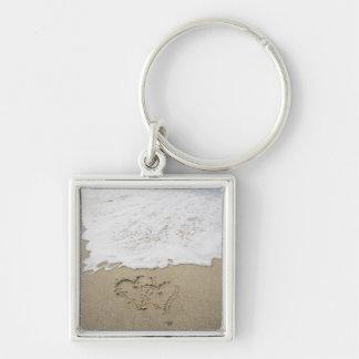 USA, Massachusetts, Hearts drawn on sandy beach 3 Key Ring