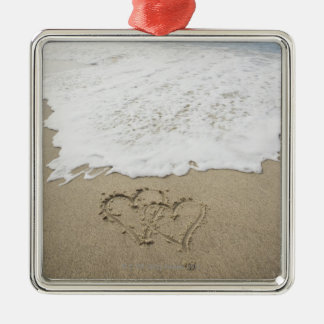 USA, Massachusetts, Hearts drawn on sandy beach 3 Silver-Colored Square Decoration
