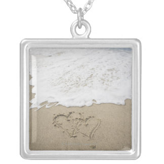 USA, Massachusetts, Hearts drawn on sandy beach 3 Silver Plated Necklace