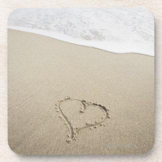 USA, Massachusetts, Hearts drawn on sandy beach Coaster
