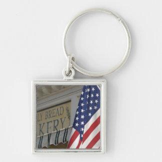 USA; Massachusetts; Stockbridge; Daily Bread Silver-Colored Square Key Ring