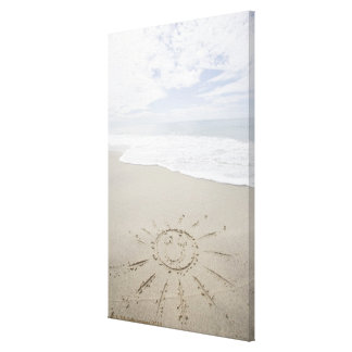 USA, Massachusetts, Sun drawn on sandy beach Gallery Wrapped Canvas