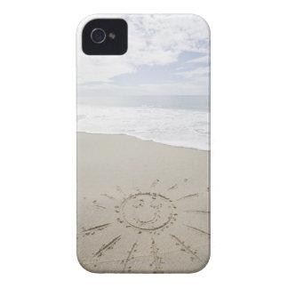 USA, Massachusetts, Sun drawn on sandy beach iPhone 4 Cases