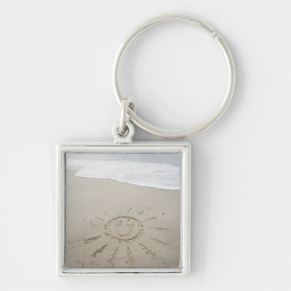 USA, Massachusetts, Sun drawn on sandy beach Key Ring