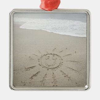 USA, Massachusetts, Sun drawn on sandy beach Silver-Colored Square Decoration