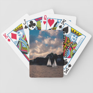 USA, Massachusetts. Sunset Sailing Bicycle Playing Cards