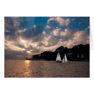 USA, Massachusetts. Sunset Sailing Card