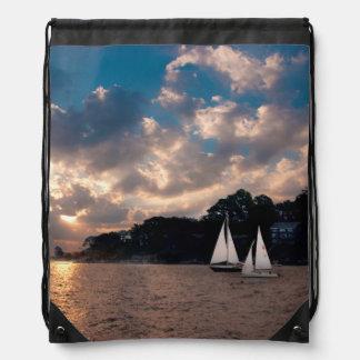USA, Massachusetts. Sunset Sailing Drawstring Bag