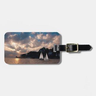 USA, Massachusetts. Sunset Sailing Luggage Tag