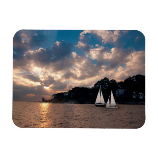 USA, Massachusetts. Sunset Sailing Magnet