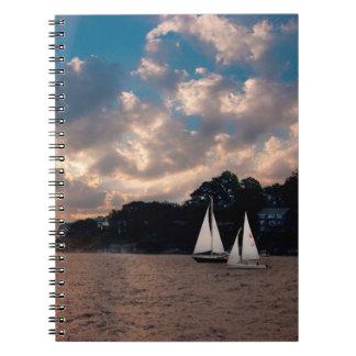 USA, Massachusetts. Sunset Sailing Notebooks