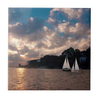 USA, Massachusetts. Sunset Sailing Tile