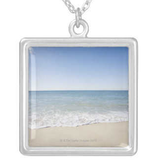 USA, Massachusetts, Waves at sandy beach 2 Silver Plated Necklace