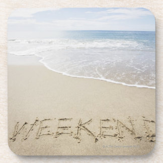 USA, Massachusetts, Word ''weekend'' drawn on Coaster