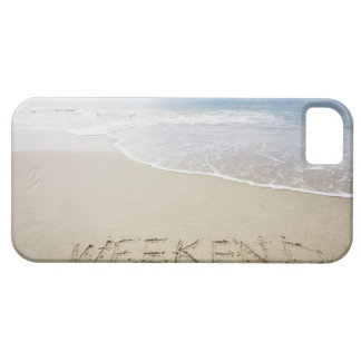 USA, Massachusetts, Word ''weekend'' drawn on iPhone 5 Cover