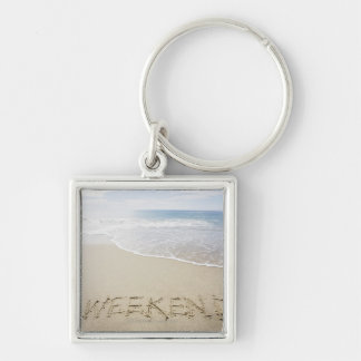 USA, Massachusetts, Word ''weekend'' drawn on Key Ring