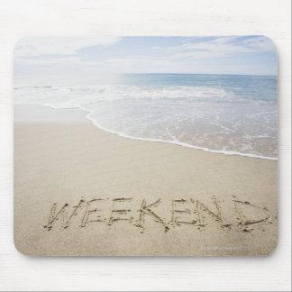 USA, Massachusetts, Word ''weekend'' drawn on Mouse Mat