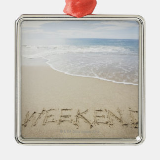 USA, Massachusetts, Word ''weekend'' drawn on Silver-Colored Square Decoration