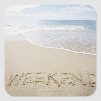 USA, Massachusetts, Word ''weekend'' drawn on Square Sticker