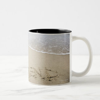 USA, Massachusetts, Word ''weekend'' drawn on Two-Tone Coffee Mug