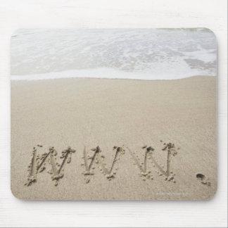 USA, Massachusetts, WWW drawn on sandy beach Mouse Mat