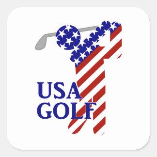 USA Mens Golf - Male Golfer Square Sticker