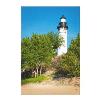 USA, Michigan. Au Sable Lighthouse On Lake Canvas Print
