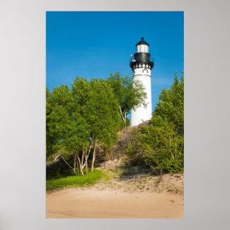 USA, Michigan. Au Sable Lighthouse On Lake Poster