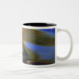 USA, Michigan, Birch leaf in river with autumn Two-Tone Coffee Mug