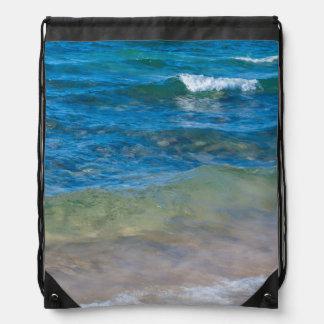 USA, Michigan. Clear Waters Of Lake Superior Drawstring Bag