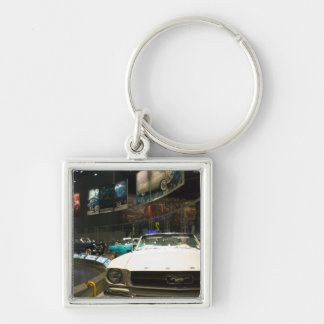 USA, Michigan, Detroit: Ford Rouge Factory Tour, Silver-Colored Square Key Ring