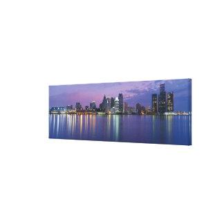 USA, Michigan, Detroit skyline, night Canvas Print