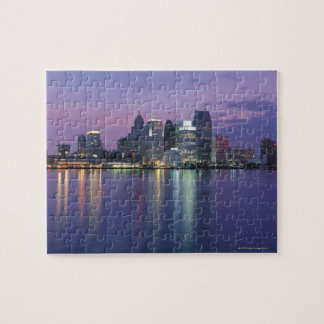 USA, Michigan, Detroit skyline, night Jigsaw Puzzle