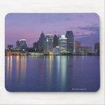 USA, Michigan, Detroit skyline, night Mouse Mats