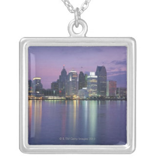 USA, Michigan, Detroit skyline, night Silver Plated Necklace